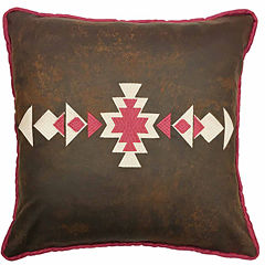 Hiend Accents 18x18 Faux Leather Southwestern Embroidery Bed Rest Pillow