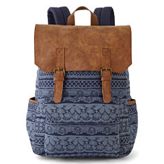 A D Sutton Print Cotton Vinyl Flap Zip Top Backpack