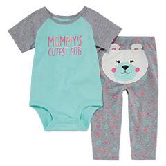 Okie Dokie Cotton 2-pc. Bodysuit Set-Baby Girls