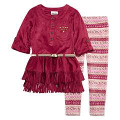 Little Lass Seude Fringe 2-pc. Legging Set- Preschool Girls