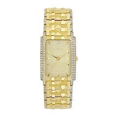 Elgin® Mens Gold-Tone & Crystal-Accent Rectangular Watch