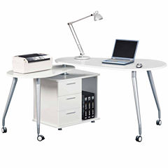 RTA Products LLC Techni Mobili Modern Rotating Computer Desk with Storage