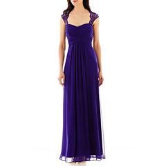 Scarlett Sleeveless Lace-Shoulder Formal Gown