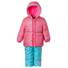 Pink Platinum Heavyweight Snow Suit-Toddler Girls