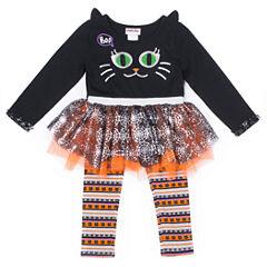 Little Lass Halloween Cat Face Tutu 2-pc. Legging Set- Preschool Girls