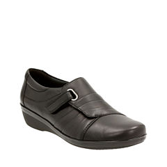 Clarks Everlay Luna Leather Womens Slip-On Shoes
