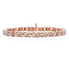 1/10 CT. T.W. Diamond Bracelet 14K Rose Gold Over Silver
