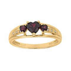 Genuine Garnet and Diamond-Accent 3-Stone Heart Ring