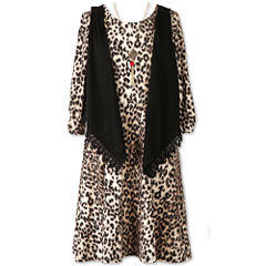 Speechless 3/4 Sleeve Animal Print Dress w/ Vest - Girls' 7-16