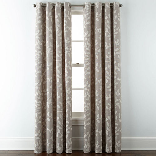 JCPenney Home™ Quinn Leaf Grommet-Top Curtain Panel