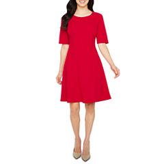 Liz Claiborne Elbow Sleeve Fit & Flare Dress