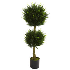Nearly Natural 4-ft. Double Ball Cypress Topiary UV-Resistant Indoor/Outdoor