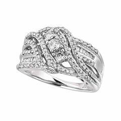 Womens 3/4 CT. T.W. Genuine White Diamond 10K Gold Cocktail Ring