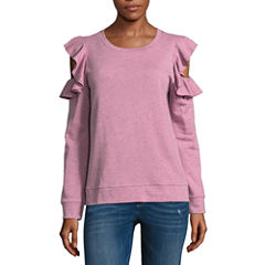 Arizona Ruffle Cold Shoulder Sweatshirt-Juniors