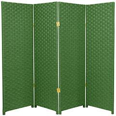 Oriental Furniture 4' Woven Fiber 4 Panel Room Divider