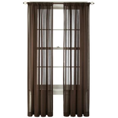 royal velvet cherise rodpocket sheer curtain panel - Sheer Curtain Panels