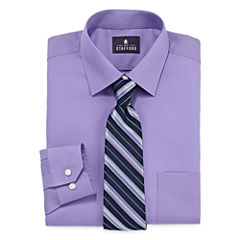 Stafford® Travel Easy-Care Dress Shirt & Tie Set - Big And Tall