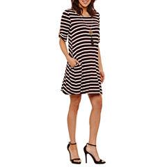 Alyx Elbow Sleeve Stripe Shift Dress-Petites