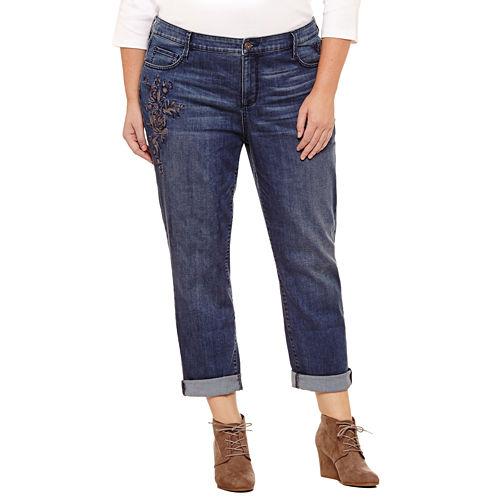 St. John's Bay® Embroidered Boyfriend Jeans - Plus (29)