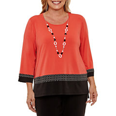 Alfred Dunner Saratoga Springs 3/4 Sleeve Crew Neck T-Shirt-Womens Plus
