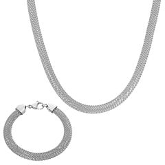Stainless Steel 2-pc. Mesh Chain Jewelry Set