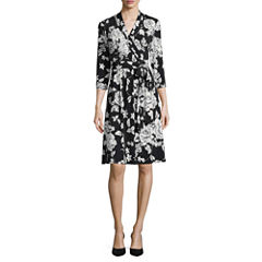 Liz Claiborne 3/4 Sleeve Floral Wrap Dress