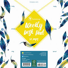 Peacock Feathers Weekly Desk Pad