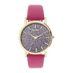 Decree® Womens Pink Glitter Dial Watch