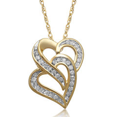 1/8 CT. T.W. Diamond 10K Yellow Gold Double Heart Pendant Necklace