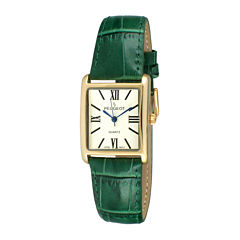 Peugeot® Womens Gold Tone Roman Numeral Green Leather Strap Watch 3036GR