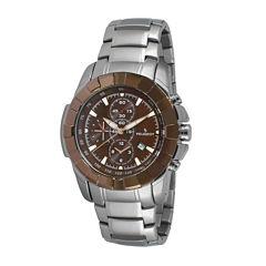 Peugeot® Men's Silver Tone Brown Dial Calendar Bracelet Watch 1044BR
