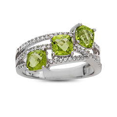 Genuine Peridot And Lab Created White Sapphire Sterling Silver 3 Stone Ring