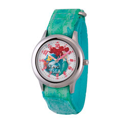 Disney Princess Ariel The Little Mermaid Girls Green Strap Watch-Wds000203