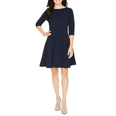 Danny & Nicole Elbow Sleeve Damask Fit & Flare Dress