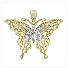 14K Two-Tone Gold Lacy Butterfly Charm Pendant