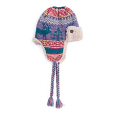 Muk Luks Fairisle Faux Fur Trim Trapper Hat