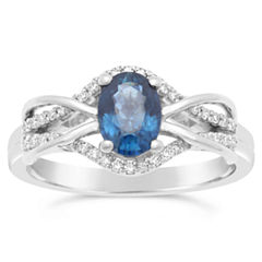 Womens 1/6 CT. T.W. Genuine Blue Sapphire 10K Gold Cocktail Ring