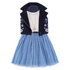 Total Girl Navy Sleeveless Moto Jacket Dress - Girls' 7-16 & Plus