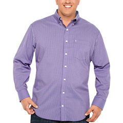 IZOD Long Sleeve Gingham Button-Front Shirt-Big and Tall