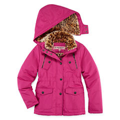 Fur-Lined Ballistic, Heavy-weight Jacket - Girls-Big Kid