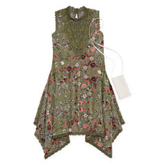 Knit Works Olive Floral Sleeveless Skater Dress w/ Purse- Girls' 7-16