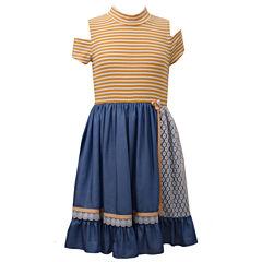 Bonnie Jean Short Sleeve Cold Shoulder Sleeve Party Dress - Big Kid Girls