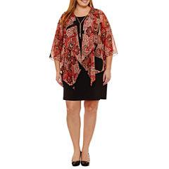 R & K Originals 3/4 Sleeve Jacket Dress-Plus