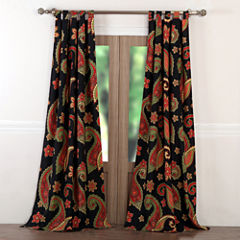 Greenland Home Fashions Midnight Paisley Tab-Top Curtain Panel