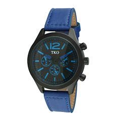 TKO ORLOGI Mens Blue Leather Strap Multifunction-Look Watch