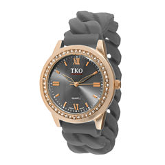 TKO ORLOGI Womens Crystal-Accent Chain-Link Gray Silicone Strap Stretch Watch