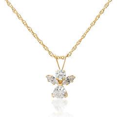 14K Gold White Cubic Zirconia Round Angel  Pendant Necklace