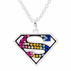 DC Comics® Superman Brass Rainbow Crystal PendantNecklace
