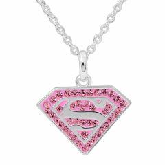 DC Comics® Superman Brass Pink Crystal Pendant Necklace