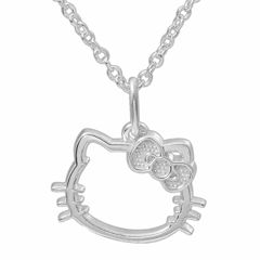 Hello Kitty® Sterling Silver Outline Pendant Necklace